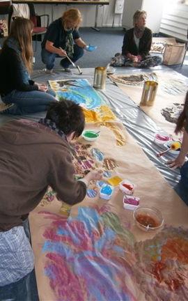 Fortbildung Erzieherinnen, Mehlfarbe in Aktion
