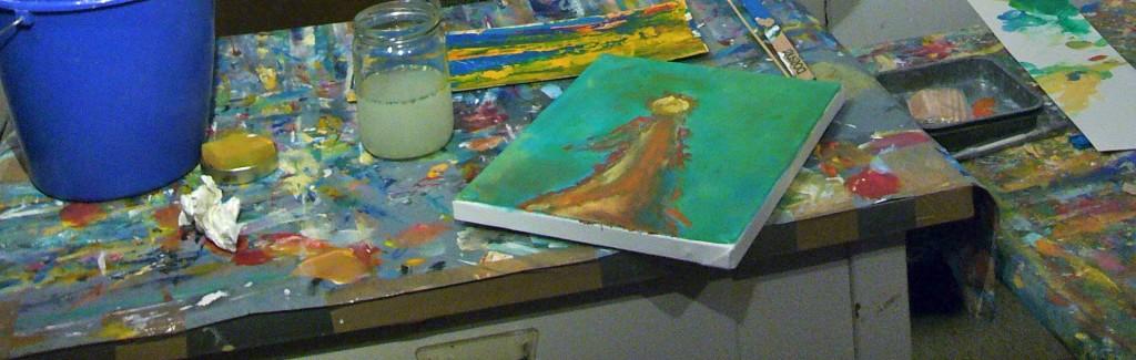 Fortbildung Erzieherinnen, Acrylfarbe